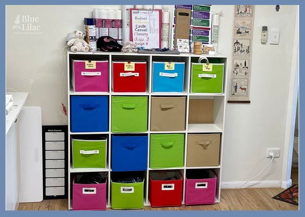After picture of organised work shelves