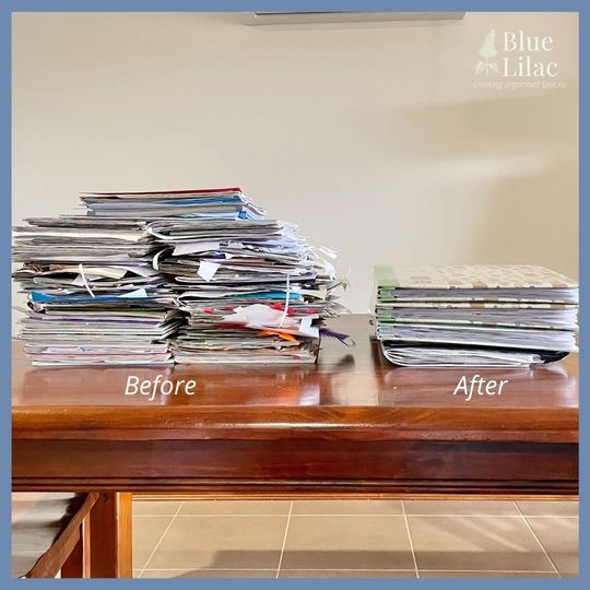 Decluttering paperwork before and after